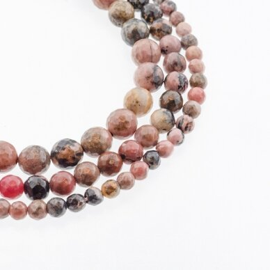 Rodonitas, natūralus, B kokybė, briaunuotas, apvali forma, juodai rožinė spalva, 37-39 cm/gija, 4, 6, 8, 10, 12 mm