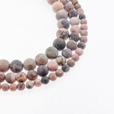 Rodonitas, natūralus, B kokybė, matinis, apvali forma, juodai rožinė spalva, 37-39 cm/gija, 4, 6, 8, 10, 12 mm