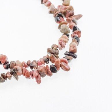 Rodonitas, natūralus, B kokybė, skaldos forma, juodai rožinė spalva, 80-83 cm/gija, apie 5-8 mm