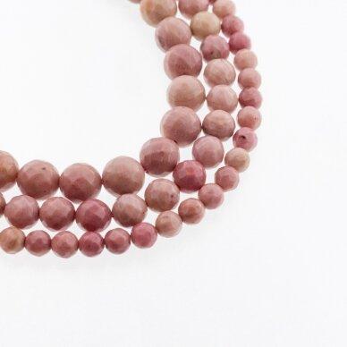 Rožinė suakmenėjusi mediena, natūralus, B kokybė, briaunuotas, apvali forma, 37-39 cm/gija, 4, 6, 8, 10, 12 mm