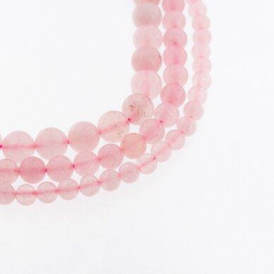 Rožinis kvarcas, natūralus, C kokybė, dažytas, apvali forma, 37-39 cm/gija, 4, 6, 8, 10, 12, 14, 16, 18 mm