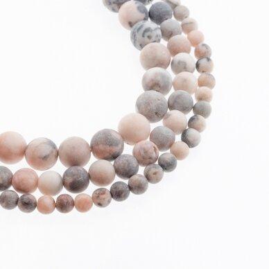 Rožinis zebrinis jaspis, natūralus, AB kokybė, matinis, apvali forma, 37-39 cm/gija, 4, 6, 8, 10, 12 mm
