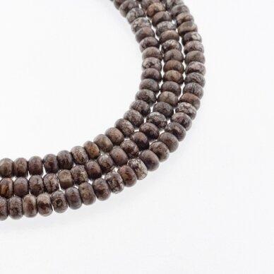 Rudas snaiginis obsidianas, natūralus, abacus rondelės forma, 37-39 cm/gija, 6x4 mm