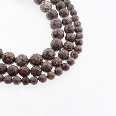 Rudas snaiginis obsidianas, natūralus, briaunuotas, apvali forma, 37-39 cm/gija, 4, 6, 8, 10, 12 mm
