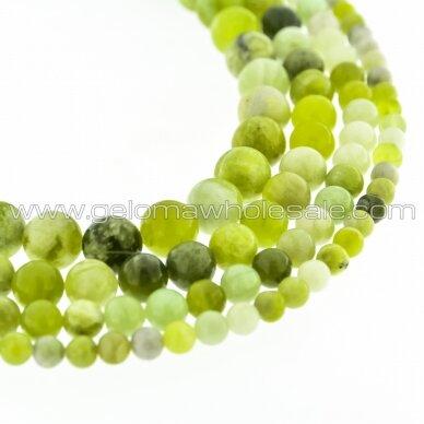 Rusijos žalias žadeitas, natūralus, AB kokybė, apvali forma, 37-39 cm/gija, 4, 6, 8, 10, 12 mm