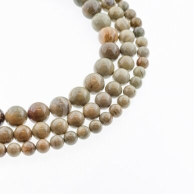 Sidabrinė migla jaspis, natūralus, apvali forma, pilka smėlio (biežinė) spalva, 37-39 cm/gija, 4, 6, 8, 10, 12 mm