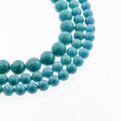 Sindziangas magnezitas, natūralus, B kokybė, dažytas, apvali forma, turkio spalva, 37-39 cm/gija, 4, 6, 8, 10, 12, 14 mm