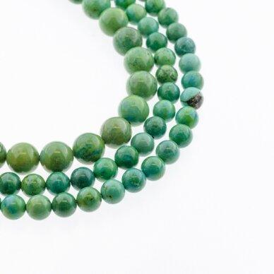 Sindziangas magnezitas, natūralus, B kokybė, dažytas, apvali forma, žalia spalva, 37-39 cm/gija, 4, 6, 8, 10, 12, 14 mm