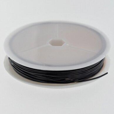 Skaidrus silikoninis siūlas, juoda spalva, apie 7 metrų/ritė, 0.8 mm