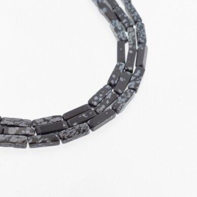 Snaiginis obsidianas, natūralus, AB kokybė, kvadratinio vamzdžio forma, juodai balta spalva, 37-39 cm/gija, 4x13 mm