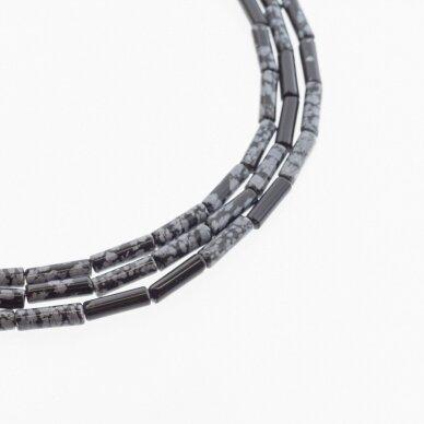 Snaiginis obsidianas, natūralus, AB kokybė, vamzdžio forma, juodai balta spalva, 37-39 cm/gija, 4x13 mm