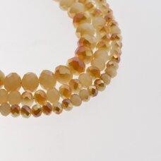 Stikliniai kristalai, briaunuoti, rondelės forma, #062 nepermatoma kreminė spalva, oranžinė su AB efektu pusinis padengimas, apie 185-190 vnt./gija, 2x1, 3x2, 4x3, 6x4, 8x6, 10x8, 11x9 mm