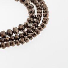 Stikliniai kristalai, briaunuoti, rondelės forma, #076 nepermatoma tamsi bronzos spalva, apie 185-190 vnt./gija, 2x1, 3x2, 4x3, 6x4, 8x6, 10x8, 11x9 mm