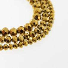 Stikliniai kristalai, briaunuoti, rondelės forma, #077 nepermatoma aukso spalva, apie 185-190 vnt./gija, 2x1, 3x2, 4x3, 6x4, 8x6, 10x8, 11x9 mm