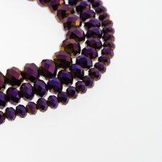 Stikliniai kristalai, briaunuoti, rondelės forma, #080 nepermatoma metaliko purpurinė spalva, apie 185-190 vnt./gija, 2x1, 3x2, 4x3, 6x4, 8x6, 10x8, 11x9 mm
