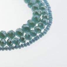 Stikliniai kristalai, briaunuoti, rondelės forma, #109-1 nepermatoma pilkai žydra spalva, sidabro spalvos padengimas, apie 140-145 vnt./gija, 2x1, 3x2, 4x3, 6x4, 8x6, 10x8, 11x9 mm