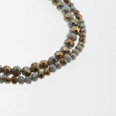 Stikliniai kristalai, briaunuoti, rondelės forma, #119 nepermatoma baltijos jūros smėlio spalva, sidabro spalvos padengimas, apie 90-95 vnt./gija, 2x1, 3x2, 4x3, 6x4, 8x6, 10x8, 11x9 mm