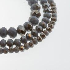 Stikliniai kristalai, briaunuoti, rondelės forma, #120 nepermatoma pilka spalva, sidabro spalvos padengimas, apie 140-145 vnt./gija, 2x1, 3x2, 4x3, 6x4, 8x6, 10x8, 11x9 mm