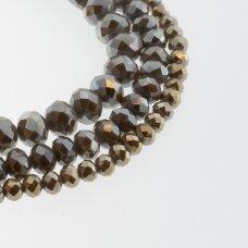 Stikliniai kristalai, briaunuoti, rondelės forma, #121 nepermatoma šviesiai pilkai ruda spalva, sidabro spalvos padengimas, apie 185-190 vnt./gija, 2x1, 3x2, 4x3, 6x4, 8x6, 10x8, 11x9 mm