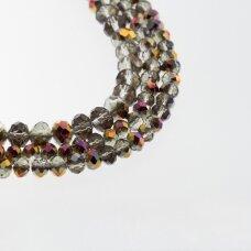 Stikliniai kristalai, briaunuoti, rondelės forma, #149 nepermatoma balta spalva, pilkas ir metaliko purpurinė pusinis padengimas, apie 65-70 vnt./gija, 2x1, 3x2, 4x3, 6x4, 8x6, 10x8, 11x9 mm