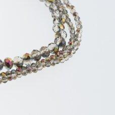 Stikliniai kristalai, briaunuoti, rondelės forma, #233 skaidri šampano ir violetinė spalva, metaliko rožinė ir aukso spalvos pusinis padengimas, apie 65-70 vnt./gija, 2x1, 3x2, 4x3, 6x4, 8x6, 10x8, 11x9 mm