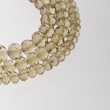 Glass Crystal, Faceted Abacus Rondelle Bead, #002 Transparent Smoky Quartz, about 185-190 pcs/strand, 2x1, 3x2, 4x3, 6x4, 8x6, 10x8, 11x9 mm