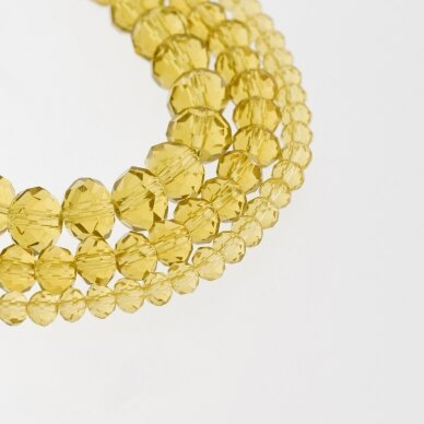 Stikliniai kristalai, briaunuoti, rondelės forma, #004 skaidri garstyčių geltona spalva, apie 185-190 vnt./gija, 2x1, 3x2, 4x3, 6x4, 8x6, 10x8, 11x9 mm