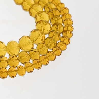 Glass Crystal, Faceted Abacus Rondelle Bead, #006 Transparent Amber Brown, about 185-190 pcs/strand, 2x1, 3x2, 4x3, 6x4, 8x6, 10x8, 11x9 mm