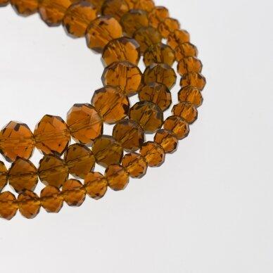 Stikliniai kristalai, briaunuoti, rondelės forma, #007 skaidri tamsiai rudo gintaro spalva, apie 185-190 vnt./gija, 2x1, 3x2, 4x3, 6x4, 8x6, 10x8, 11x9 mm