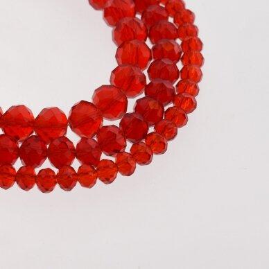 Stikliniai kristalai, briaunuoti, rondelės forma, #011 skaidri raudona spalva, apie 185-190 vnt./gija, 2x1, 3x2, 4x3, 6x4, 8x6, 10x8, 11x9 mm