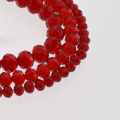 Stikliniai kristalai, briaunuoti, rondelės forma, #012 skaidri tamsiai raudona spalva, apie 185-190 vnt./gija, 2x1, 3x2, 4x3, 6x4, 8x6, 10x8, 11x9 mm