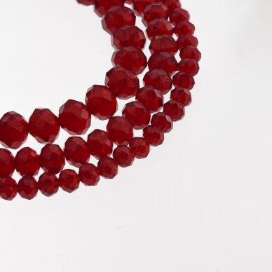 Stikliniai kristalai, briaunuoti, rondelės forma, #013 skaidri granato raudona spalva, apie 185-190 vnt./gija, 2x1, 3x2, 4x3, 6x4, 8x6, 10x8, 11x9 mm