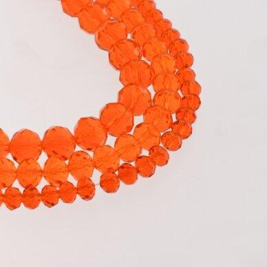 Stikliniai kristalai, briaunuoti, rondelės forma, #015 skaidri oranžinė spalva, apie 140-145 vnt./gija, 2x1, 3x2, 4x3, 6x4, 8x6, 10x8, 11x9 mm