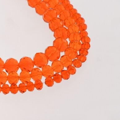 Glass Crystal, Faceted Abacus Rondelle Bead, #015 Transparent Orange, about 140-145 pcs/strand, 2x1, 3x2, 4x3, 6x4, 8x6, 10x8, 11x9 mm