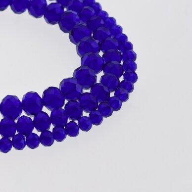 Stikliniai kristalai, briaunuoti, rondelės forma, #018 skaidri karališka mėlyna spalva, apie 140-145 vnt./gija, 2x1, 3x2, 4x3, 6x4, 8x6, 10x8, 11x9 mm