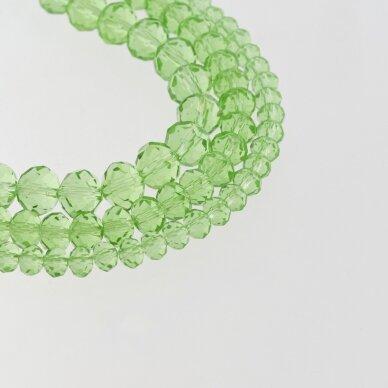 Stikliniai kristalai, briaunuoti, rondelės forma, #023 skaidri šviesiai žalia spalva, apie 90-95 vnt./gija, 2x1, 3x2, 4x3, 6x4, 8x6, 10x8, 11x9 mm
