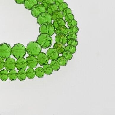 Stikliniai kristalai, briaunuoti, rondelės forma, #024 skaidri žalia spalva, apie 185-190 vnt./gija, 2x1, 3x2, 4x3, 6x4, 8x6, 10x8, 11x9 mm