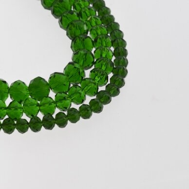 Glass Crystal, Faceted Abacus Rondelle Bead, #025 Transparent Emerald Green, about 65-70 pcs/strand, 2x1, 3x2, 4x3, 6x4, 8x6, 10x8, 11x9 mm