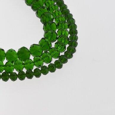 Stikliniai kristalai, briaunuoti, rondelės forma, #025 skaidri smaragdo žalia spalva, apie 65-70 vnt./gija, 2x1, 3x2, 4x3, 6x4, 8x6, 10x8, 11x9 mm