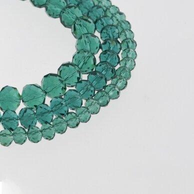 Stikliniai kristalai, briaunuoti, rondelės forma, #027 skaidri žalios jūros bangos spalva, apie 185-190 vnt./gija, 2x1, 3x2, 4x3, 6x4, 8x6, 10x8, 11x9 mm