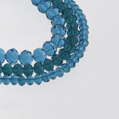 Stikliniai kristalai, briaunuoti, rondelės forma, #028 skaidri mėlynos jūros bangos spalva, apie 185-190 vnt./gija, 2x1, 3x2, 4x3, 6x4, 8x6, 10x8, 11x9 mm