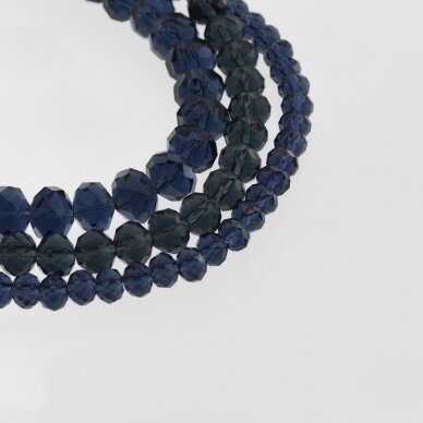 Glass Crystal, Faceted Abacus Rondelle Bead, #029 Transparent Ink-blue, about 185-190 pcs/strand, 2x1, 3x2, 4x3, 6x4, 8x6, 10x8, 11x9 mm