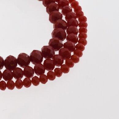 Stikliniai kristalai, briaunuoti, rondelės forma, #033 nepermatoma raudona spalva, apie 185-190 vnt./gija, 2x1, 3x2, 4x3, 6x4, 8x6, 10x8, 11x9 mm