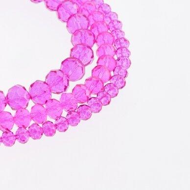 Stikliniai kristalai, briaunuoti, rondelės forma, #035 skaidri fuksijos spalva, apie 140-145 vnt./gija, 2x1, 3x2, 4x3, 6x4, 8x6, 10x8, 11x9 mm