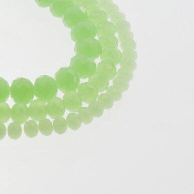 Stikliniai kristalai, briaunuoti, rondelės forma, #036 nepermatoma šviesiai žalia spalva, apie 65-70 vnt./gija, 2x1, 3x2, 4x3, 6x4, 8x6, 10x8, 11x9 mm