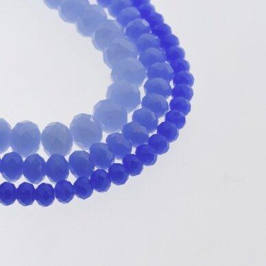 Stikliniai kristalai, briaunuoti, rondelės forma, #040 nepermatoma rugiagėlių mėlyna spalva, apie 185-190 vnt./gija, 2x1, 3x2, 4x3, 6x4, 8x6, 10x8, 11x9 mm
