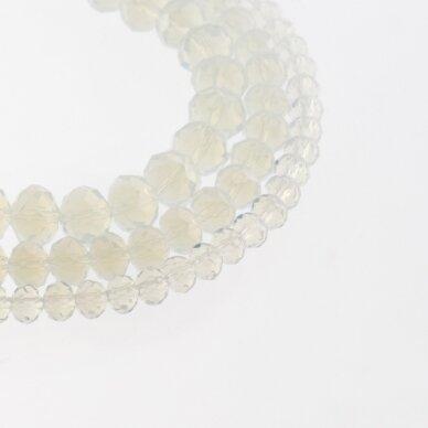 Stikliniai kristalai, briaunuoti, rondelės forma, #042 pusiau skaidri opalito balta spalva, apie 185-190 vnt./gija, 2x1, 3x2, 4x3, 6x4, 8x6, 10x8, 11x9 mm