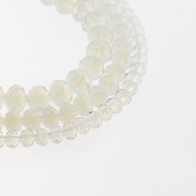 Glass Crystal, Faceted Abacus Rondelle Bead, #042 Translucent Opalite White, about 185-190 pcs/strand, 2x1, 3x2, 4x3, 6x4, 8x6, 10x8, 11x9 mm