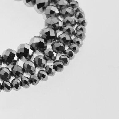 Stikliniai kristalai, briaunuoti, rondelės forma, #044 nepermatoma nikelio pilka spalva, apie 185-190 vnt./gija, 2x1, 3x2, 4x3, 6x4, 8x6, 10x8, 11x9 mm