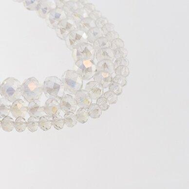 Stikliniai kristalai, briaunuoti, rondelės forma, #048 skaidri spalva, AB efektas, apie 140-145 vnt./gija, 2x1, 3x2, 4x3, 6x4, 8x6, 10x8, 11x9 mm
